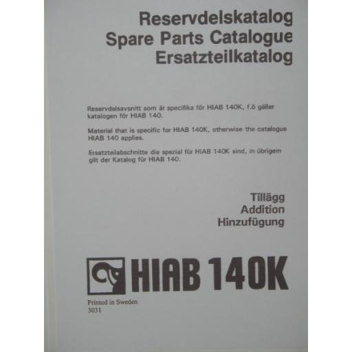 Hiab 140K Parts Manual
