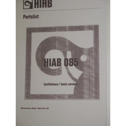 Hiab 085 Parts Manual