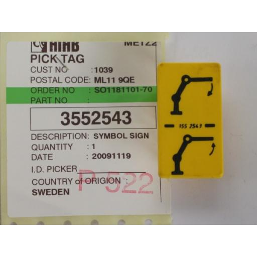 H3552543 Jib Function Yellow Decal
